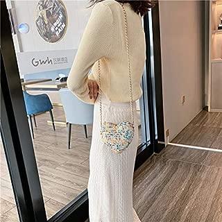 Fashion Single-Shoulder Bags Heart Shape Small Bag Chain Strap Single Shoulder Bag Ladies Handbag Messenger Bag (Color : Yellow, Size : OneSize)