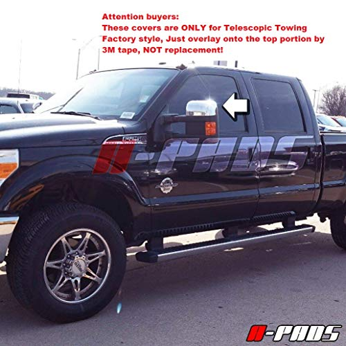 A-PADS Chrome Top Mirror Covers for Ford Super Duty F250 F350 F450 2008-2016...