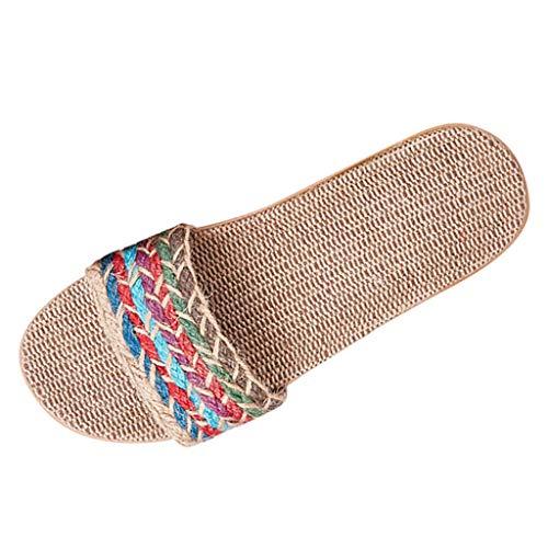 Bluestercool Chaussons de Lin Eté Unisexe Antidérapant Pantoufles Orteil Ouvert Maison Chaussons d'intérieur Sandales Chaussures de Plage Respirant Slippers