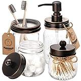 Mason Jar Bathroom Accessories Set 4 - Oil Rubbed Bronze - Mason Jar Soap Dispenser & 2 Apothecary Jars & Toothbrush Holder - Rustic Farmhouse Decor, Bathroom Home Decor Clearance, Countertop Organize