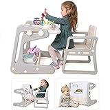 2 in 1 Kindertisch/Staffelei mit Stuhl Set, Kinder Aktivitätstisch Schreibtisch magnetische Maltafel mit Stauraum und Malzubehör, für Kleinkinder 2-6 Jahre