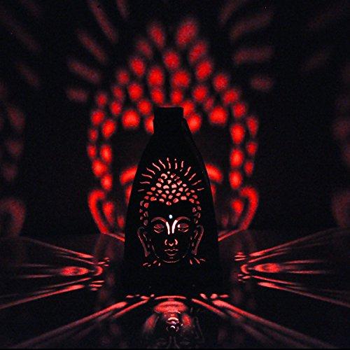 Hashcart Kerzenhalter mit traditionellem Design und Schatten-Effekt, Motiv: Buddha, Metall, für Votivkerzen und Teelichter, Tischdekoration für zu Hause, Wohnzimmer und Büro