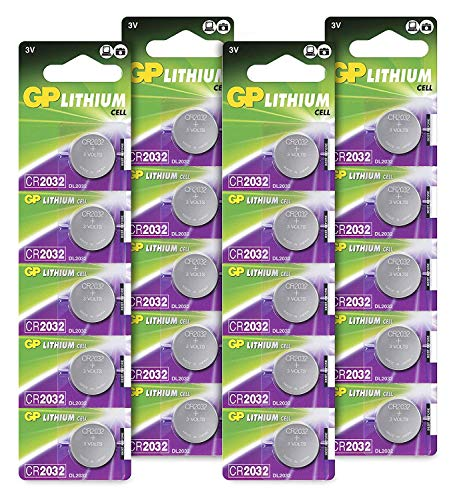 GP CR2032 3V - Pack de 20 Pilas CR 2032 de Litio botón | Sin Mercurio | Pack Compuesto por 4 blísters de 5 Pilas CR2032 / DL2032 envasadas Individualmente