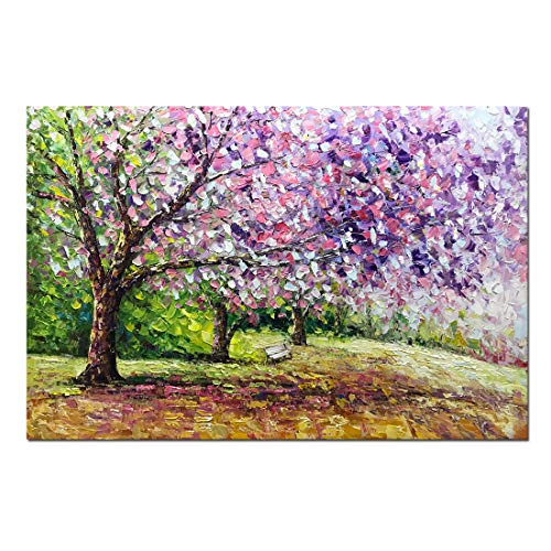 Boiee Art,24x36inch Hand Painted Cherry Blossom Tree on Canvas Landscape Artwork Blooming Life Oil Paintings Modern Abstract Forest Canvas Wall Art Home Decor Art Wood Inside Framed Ready to Hang