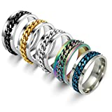 8 Pieces Rotatable Bottle Opener Ring Stainless Steel Chain Rotating Ring Portable Beer Bottle Can Opener Colorful Finger Bottle Opener for Home Bar Party Supplies (19 mm)