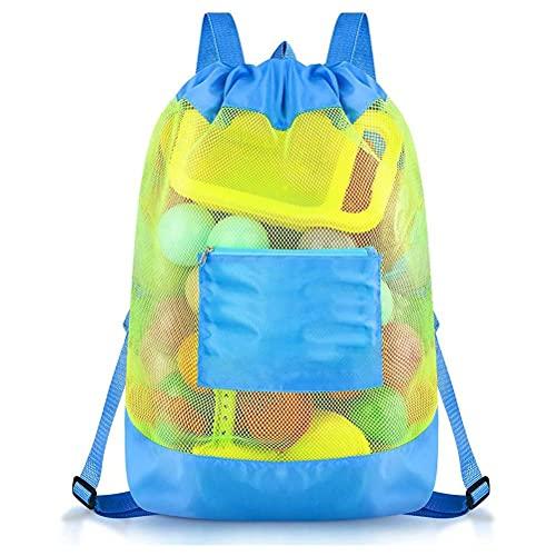 Lipeed Bolsa de playa de malla, bolsa de playa pesada de viaje de verano con cremallera y compartimento impermeable para frigorífico, bolsa de playa, bolsa de vacaciones, color azul cielo