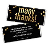 Thank You Favors Personalized Chocolate Bar Wrappers - Gold Foil (25 Count)