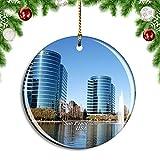 Weekino Estados Unidos América Silicon Valley San Francisco Decoración de Navidad Árbol de Navidad Adorno Colgante Ciudad Viaje Colección de Recuerdos Porcelana 2.85 Pulgadas