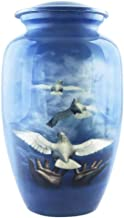 M MEILINXU Funeral Urns for Adults Ashes, Cremation Urn for Human Ashes Adults - Pet or Dog Urns for Ashes - Display Burial Urn at Home or in Niche at Columbarium (Blue Free Hawk, Aluminum Large Urn