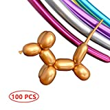 Balloons for Balloon Animals, Long Twisting Balloons, 100PCS Metallic 260 Latex Balloons, Kit for Animal Making Magic Chrome Balloons Mixed Color for Birthday Wedding Festival Party