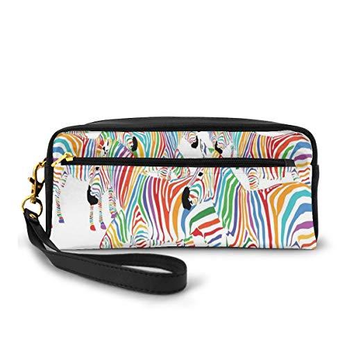 Pencil Case Pen Bag Pouch Stationary,Colorful Cute Animal Herd with Rainbow Stripes Figure Digital Art Print Modern Safari,Small Makeup Bag Coin Purse
