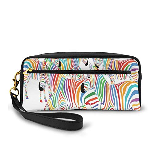 Pencil Case Pen Bag Pouch Stationary,Colorful Cute Animal Herd with Rainbow Stripes Figure Digital Art Print Modern Safari,Small Makeup Bag Coin Purse