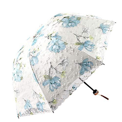 Honeystore Lace Sun UV Protection 3 Folding Parasol Travel Outdoor Umbrella 1907-Grey
