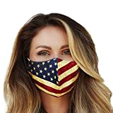 Washable Face Mask with Adjustable Ear Loops & Nose Wire - 3 Layers, Made in USA (Rust American Flag)