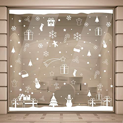 Gigio Store Vetrofanie Natale, 2.00x2.00 Metri, Rimovibile, Vetrofanie Natalizie per Negozi, Natale Sticker Decorativi, Adesivi Natalizi Muro Vetro Finestre Casa Cucina
