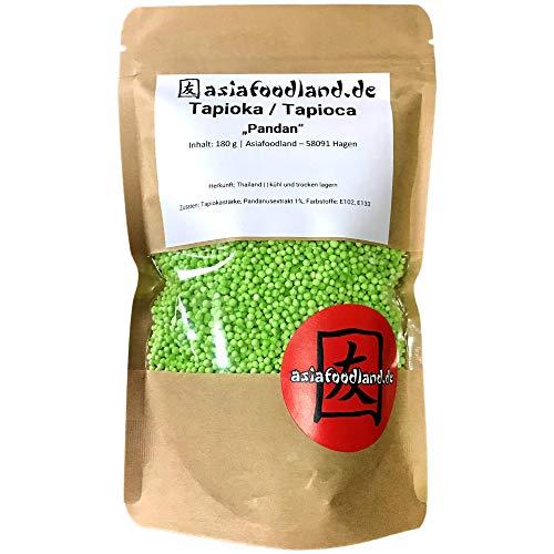 Asiafoodland - Tapioka / Tapioca - Perlen - Pandan - köstlicher Vanille Geschmack - grün - hochwertig - für Pudding und mehr, 1er Pack (1 x 180g)