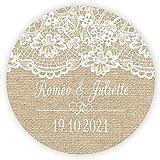 MameArt 50x Etiquetas Personalizadas Boda Encaje Lino con Nombre Amor, 4cm Pegatinas Rosa Favor Invitaciones Matrimonio Boda, Sticker Paquete de Regalo Fiesta Mermelada (ES02)