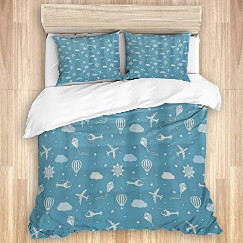 HATESAH 3 Pcs Duvet Cover,Unique Kites Aircraft Helicopters and Balloons in Starry Blue Sky,with 1 Duvet Cover and 2 Pillowcases,for Dormitory,Hotel,Home(King Size)
