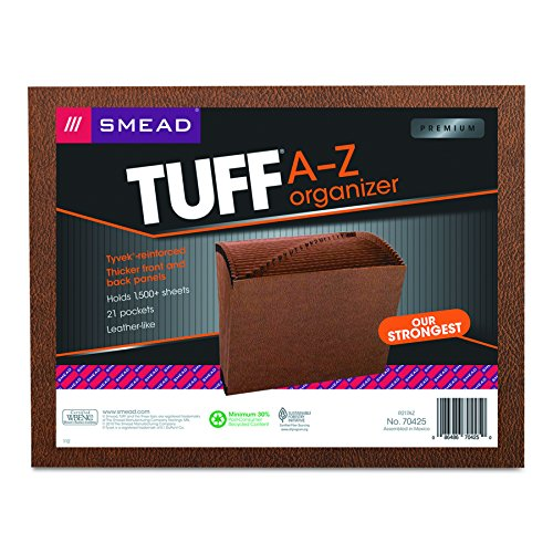 Smead TUFF Expanding File, 21 Pockets, Alphabetic (A-Z), Letter Size, Redrope (70425)