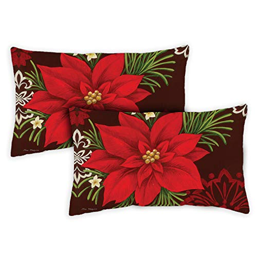 Toland Home Garden 771277 Red Damask 12 x 19 Inch Indoor/Outdoor, Pillow Case (2-Pack)