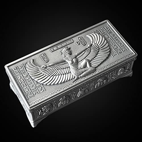 FYMIJJ Caja de Joyas Organizador de Joyas Caja de Almacenamiento de joyería Antigua de Metal Egipcio joyero de Diosa egipcia,exquisitos Patrones tallados,artesanías Hechas a Mano,Regalos para Damas
