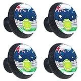 4 tiradores redondos de cristal transparente para cajones con tornillos para cocina, aparador, armario, baño, armario, tenis australiano, bandera británica
