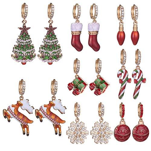 BNMY Pendientes De Árbol De Navidad con Goteo Pendientes De