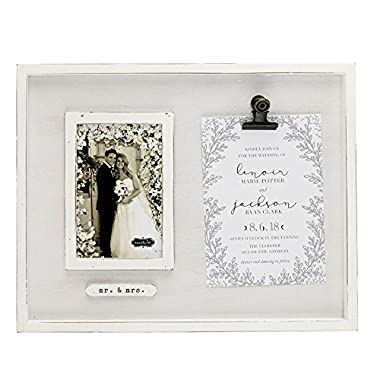 Mud Pie Wedding Invitation Clip Keepsake Frame 4  x 6  Picture, White, Gray