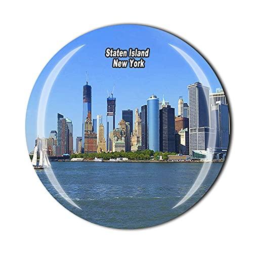 Staten Island - Imán para nevera (cristal, 3D, para decoración de hogar, cocina, magnética)