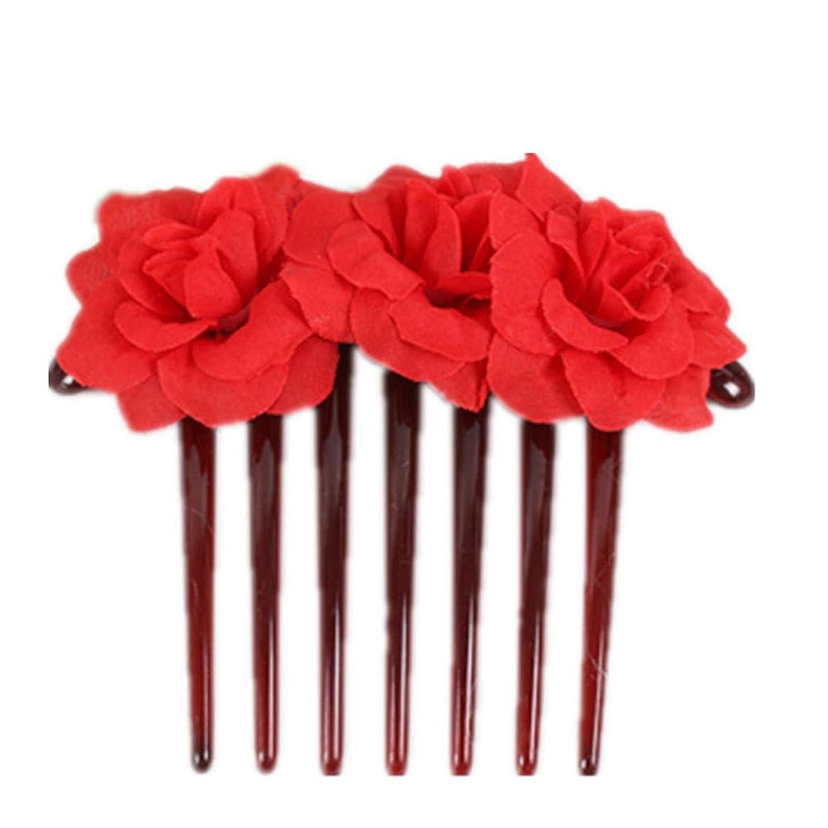 技術者抜け目がない状況1st market プレミアム品質シミュレーション花花嫁の髪櫛頭飾りヘアピンクリップ櫛スタイリングアクセサリー、赤