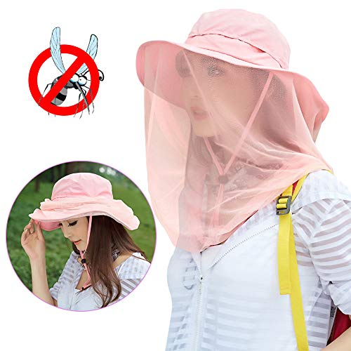 Mosquito Head Net Hat, Safari Sun Hat with Mesh Protection from Insect Pink