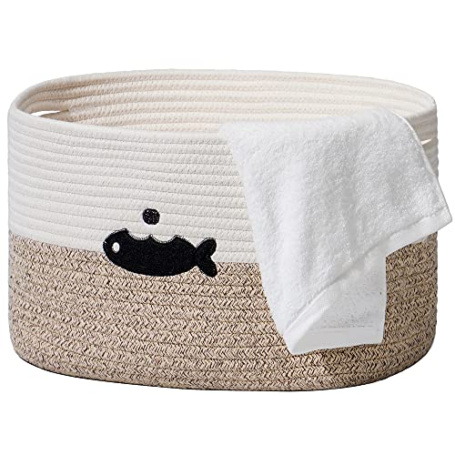 Rolife Cotton Rope Storage Baskets Woven Bins Hamper Basket, Decorative Rectangle Modern Bathroom Shelf Baskets with Handles for Storage Towels Clothes Pet Toys (16'x10',Fish)