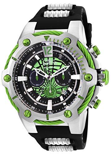Invicta Relógio Masculino Marvel Hulk 53 mm Aço Inoxidável e Silicone Cronógrafo Quartzo, Preto (Modelo: 25985)