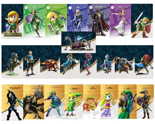24 Mini Cartes NFC Zelda Bread of The Wild Wolf Link Compatible Switch Switch Lite Wii U et Nouveau systeme 3DS Fonctionne comme Les Amiibo livré avec Une Boite de Rangement