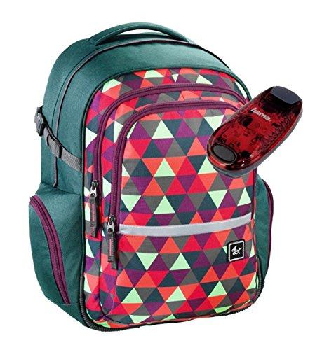 All Out Schulrucksack mit verstellbarem Tragesystem und LED-Sicherheitslicht - viele Farben und Dessins (Happy Triangle)