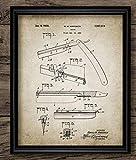 N / A Planos de Patente de barbero, Carteles Antiguos, Impresiones en Lienzo, brocha de Afeitar, Tijeras, Poste de barbero, maquinilla de Afeitar, decoración de barbería-40X60cm sin Marco