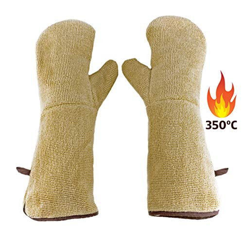 LA LUPE Guantes para Horno de Cocina Profesional, térmicos Resistentes al Calor 350 °C. Manoplas protección para Barbacoa a Alta Temperatura.