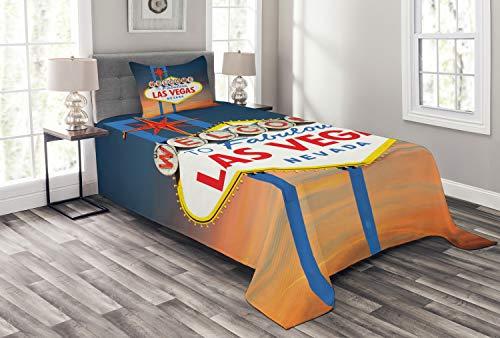 ABAKUHAUS Vereinigte Staaten von Amerika Tagesdecke Set, Fabulous Las Vegas Nevada, Set mit Kissenbezug Feste Farben, für Einselbetten 170 x 220 cm, Multicolor