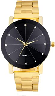 Hunputa Luxury Quartz Fashion Stainless Steel Dial Stainless Band Wrist Watch (Gold)