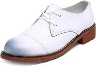 Bonrise Women's Classic Wingtip Oxfords Shoes Vintage Brogues Lace-up Flat Low Heel Casual Dress Oxford White