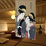 LIGICKY Noren Japanese Style Doorway Curtain Ukiyoe Geisha Girls Painting Long Type Door Tapestry Asian Window Treatment for Home Sushi Kitchen Decoration 33.5 x 59 inch