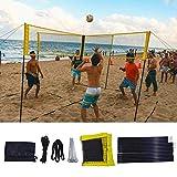 Red portátil de badminton Volley – Red de entrenamiento de volei-Ball cruzada duradera en cuatro lados – Red de deporte de polietileno fácil de instalar con postes – para la playa y el camino