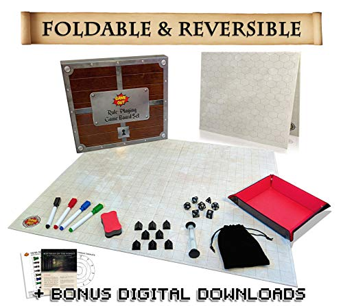 Foldable RPG Battle Grid Game Mat Set - 27 x 23 inch Fold-Flat Reversible with 1 inch Squares & Hexes - Dry Erase Board & Markers - Role-Playing Dice Set & Tray - Dungeons & Dragons DND Compatible