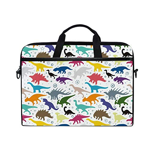 Laptop Sleeve Case,Laptop Bag,Colorful Dinosaur Pattern Water Briefcase Messenger Notebook Computer Bag with Shoulder Strap Handle,28.5×38 CM/14 Inch
