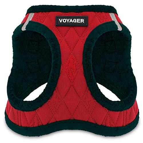 Voyager Step-In Plush Dog Harness – Soft Plush, Step In Vest Harness for Small and Medium Dogs – By Best Pet Supplies - Red Plush, Small (Chest: 14.5