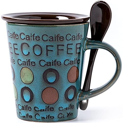 Taza de café de Porcelana de 360 ml con asa, Taza de Café para Té Cacao Cereal, Taza de cerámica con patrón Creativo Regalo de vajilla para el día de la Madre, día del Padre