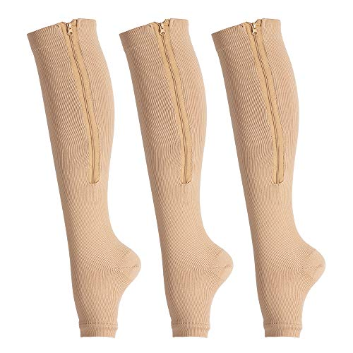 LEOSTEP 3-Pair Zipper Compression Socks 15-20 mmHg Open Toe Toeless Knee High Zip Support Compression Stocking for Men & Women, Beige, Large-X-Large