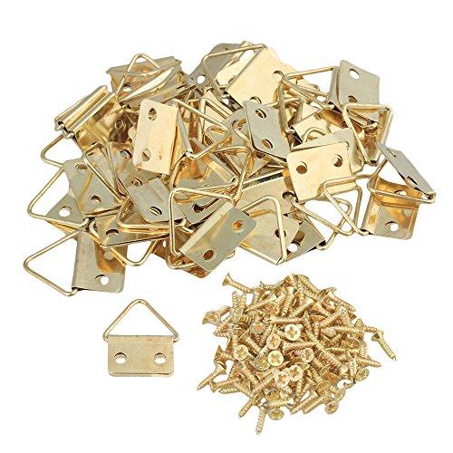 BQLZR Ganchos de hierro dorado triángulo para espejo marco de fotos, 2 agujeros de montaje con tornillos, decoración del hogar, 50 unidades