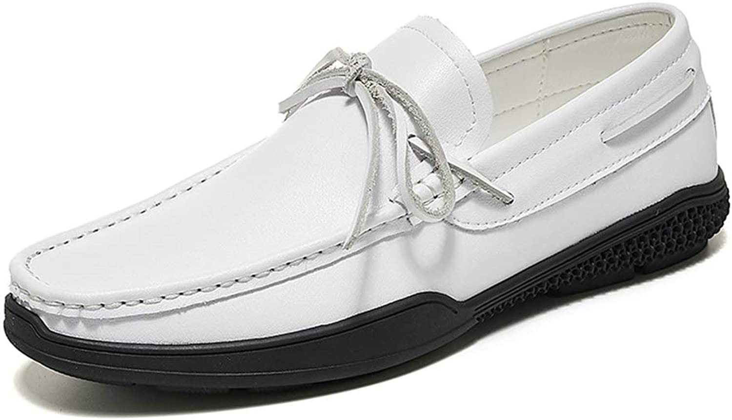 MUMUWU Soft Loafer for Men Boat Moccasins Slip On Style Leather Delicate Butterfly Lace Causal Breathable (color   White, Size   8.5 D(M) US)