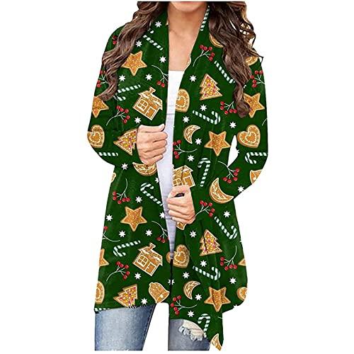 Womens Christmas Cardigans Fashion 2021, Lightweight Long Sleeve Pockets Santa Print Open Front Thin Casual Jacket Coats